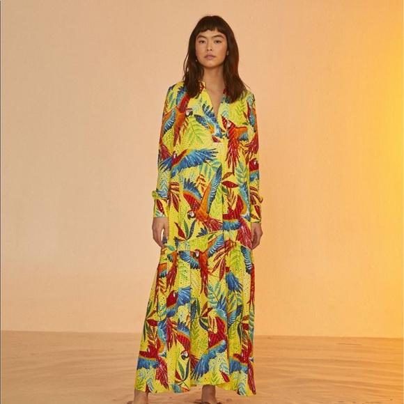 Farm Rio Yellow Macaw Long Sleeve Maxi Dress